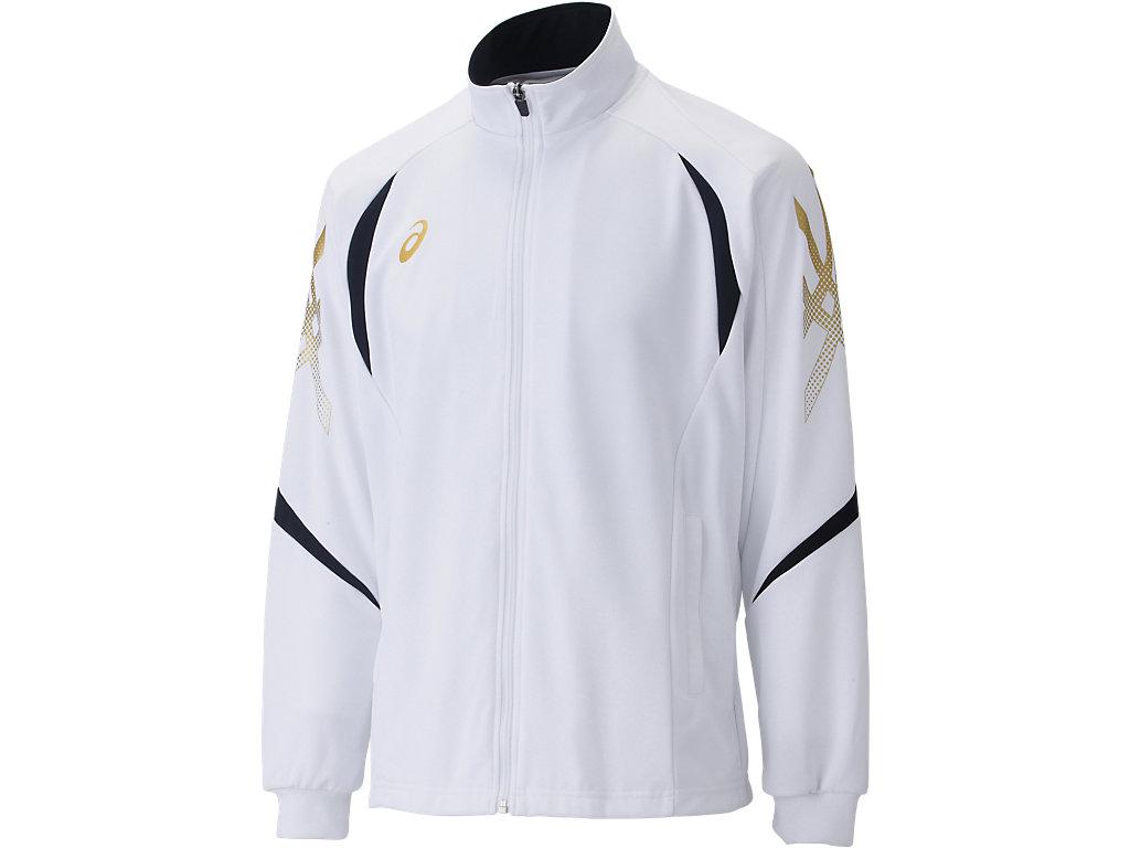 【ASICS/アシックス】 トレーニングジャケット ホワイトxブラック_XAT176