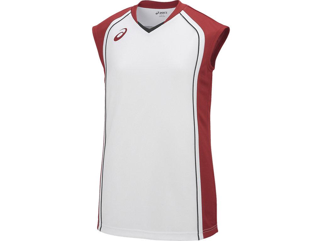 【ASICS/アシックス】 W'Sゲームシャツ ホワイトxストロングレッド レディース_XB2360