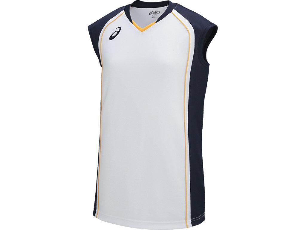 【ASICS/アシックス】 W'Sゲームシャツ ホワイトxネイビー レディース_XB2360