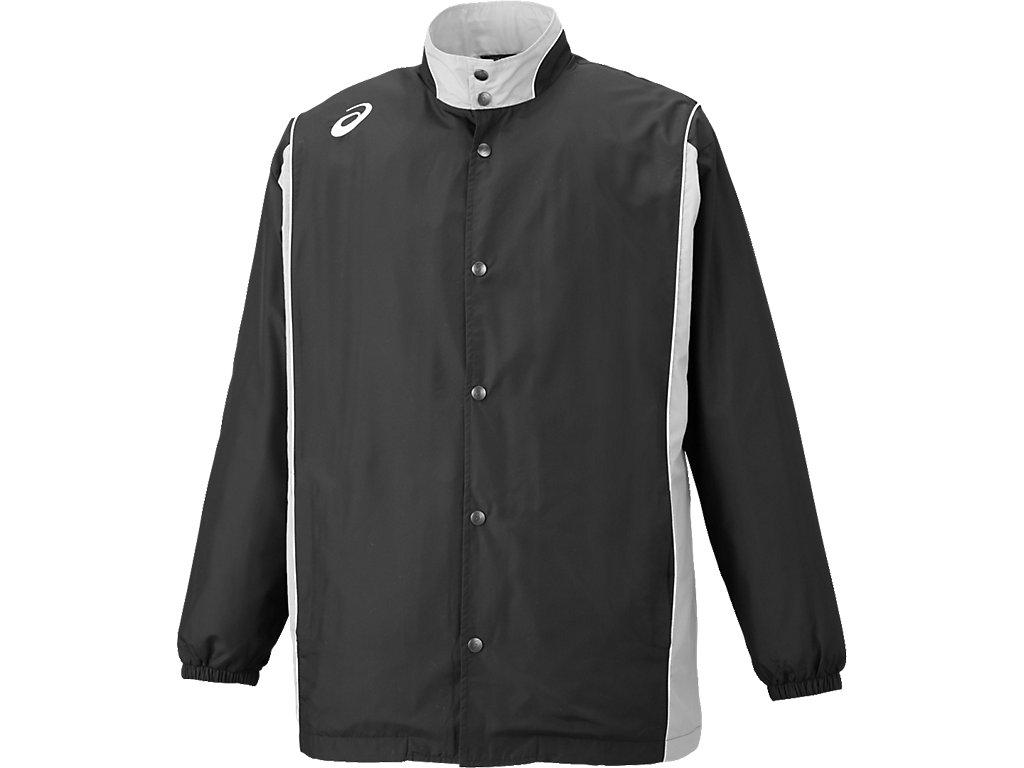 ウオームアップジャケット:ブラックxミディアムシルバー