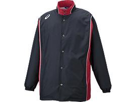 Front Top view of ウオームアップジャケット, ブラック×ストロングレッド