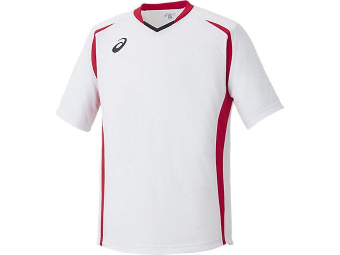 ゲームシャツ ハーフスリーブ, ホワイトXレッド