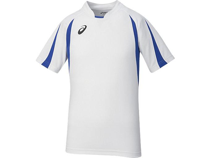 ゲームシャツ ハーフスリーブ, ホワイトxブルー