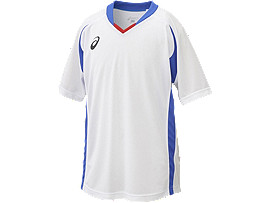 ジュニア ゲームシャツ ハーフスリーブ, ホワイトxブルー