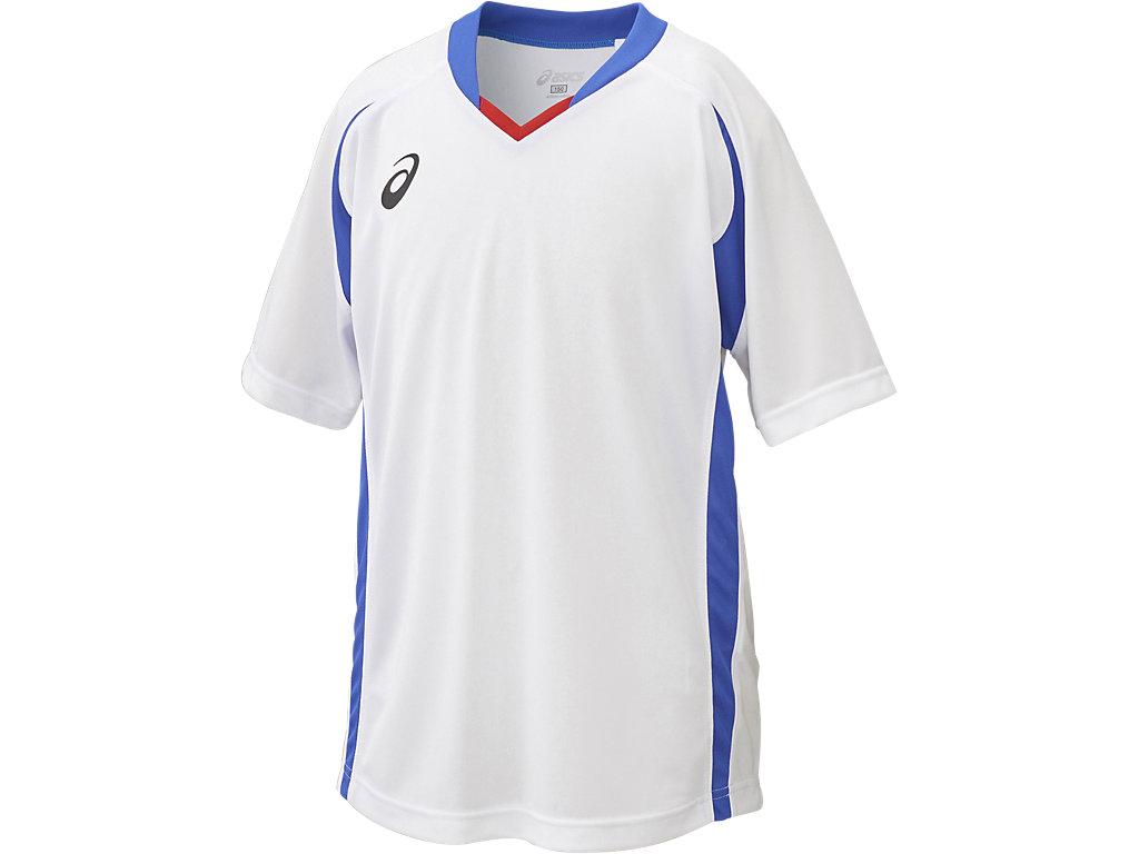 【ASICS/アシックス】 Jr.ゲームシャツHS ホワイトxブルー キッズ_XS3140