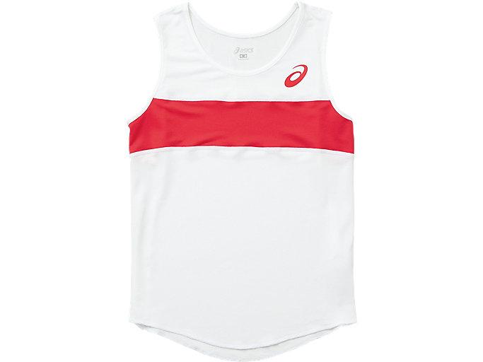 ウイメンズランニングシャツ, ホワイトXレッド