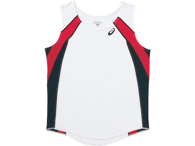 ウイメンズランニングシャツ, ホワイトXブラック