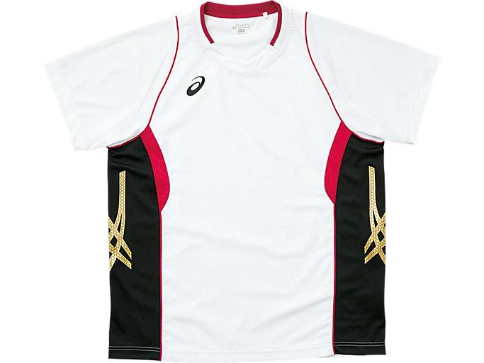 ゲームシャツ ハーフスリーブ, ホワイト×ストロングレッド