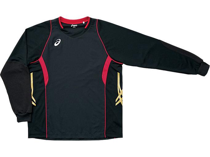 ゲームシャツ ロングスリーブ, ブラック×Vレッド