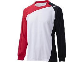 ゲームシャツ ロングスリーブ, ホワイト×ストロングレッド