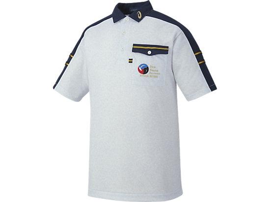 レフリーシャツHS, ホワイト杢×ネイビー