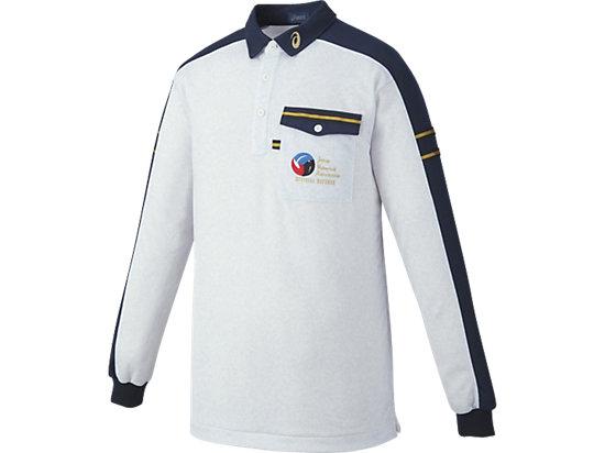 レフリーシャツLS, ホワイト杢×ネイビー