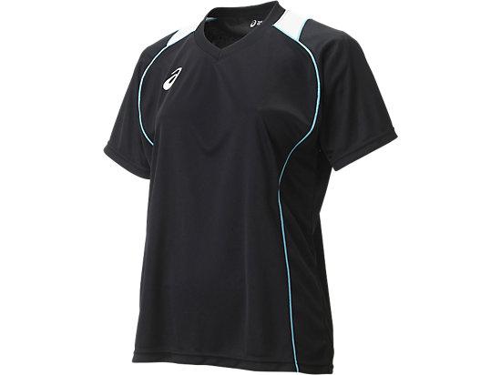 W'SプラシャツHS, BLACK/ISLAND BLUE/FIERY RED