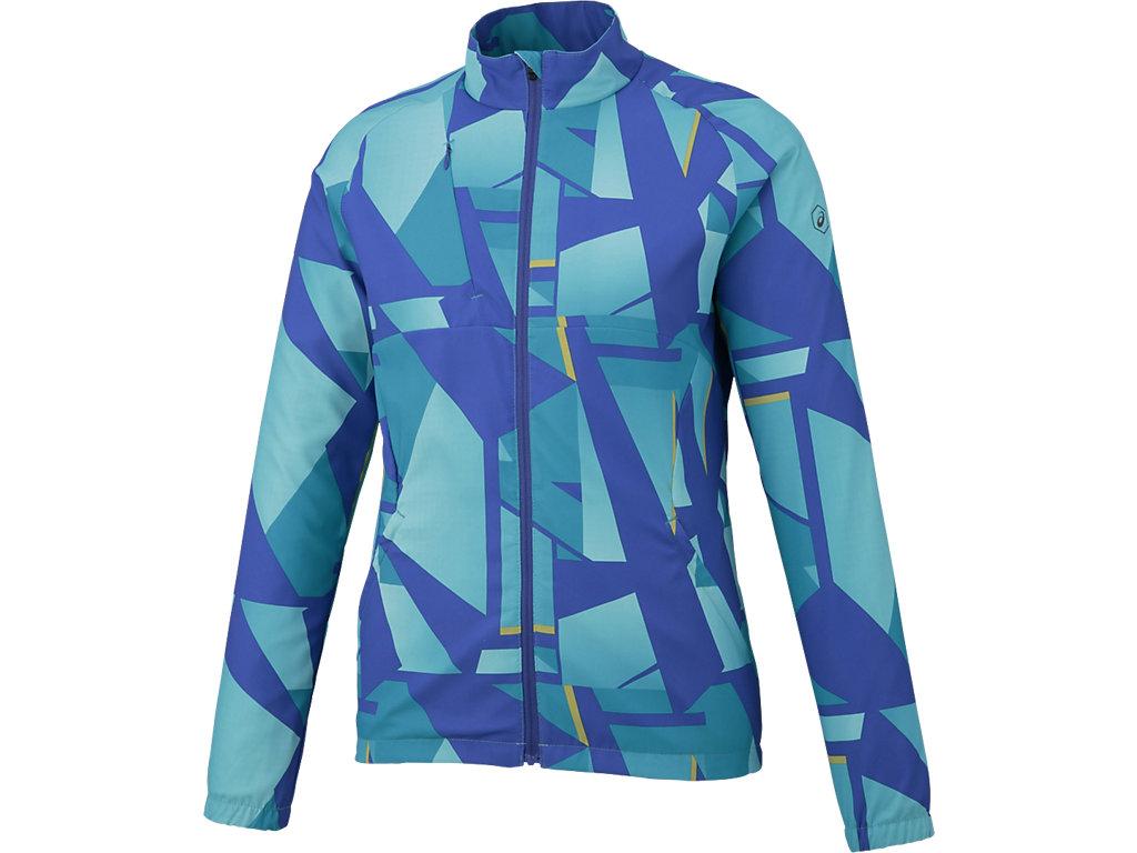 W'Sランニングプリントウインドジャケット:シャターアークティックアクア