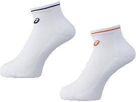 2足組ソックス(パイル), ホワイトxオレンジ