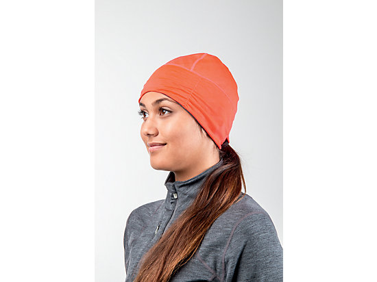 Thermopolis LT Ruched Beanie Dark Grey Heather/Fiery Flame 15