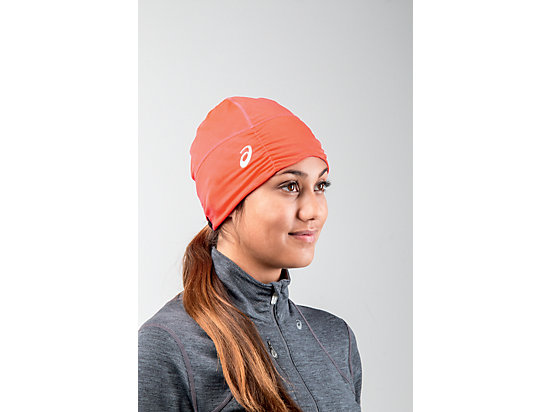 Thermopolis LT Ruched Beanie Dark Grey Heather/Fiery Flame 19