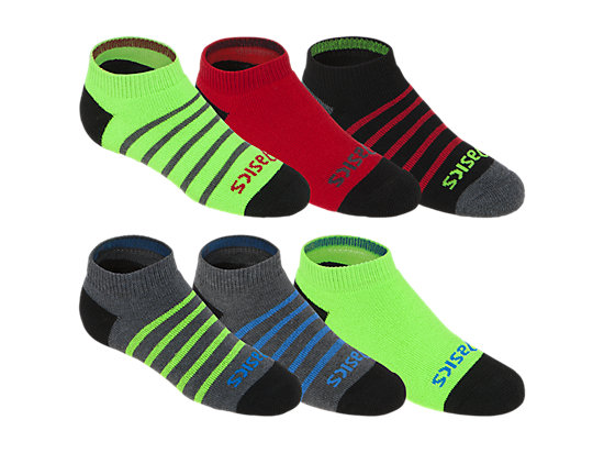 PRF Stripe Youth No Show Socks (3 Pack) Heather Iron Assorted 3